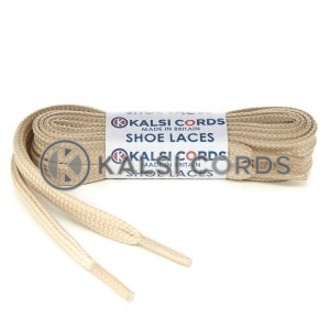 T461 7mm Thin Flat Tubular Shoe Laces Cream 1 Kalsi Cords