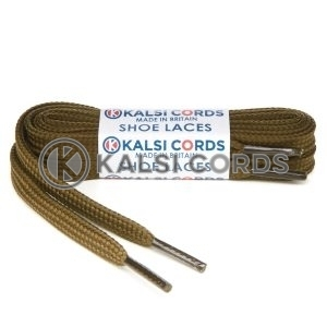 T461 7mm Thin Flat Tubular Shoe Laces Everglade 1 Kalsi Cords