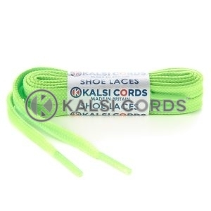 T461 7mm Thin Flat Shoe Laces Tubular Fluorescent Neon Lime PG051 Kids Toddlers