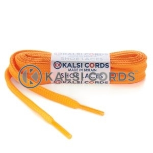 T461 7mm Thin Flat Tubular Shoe Laces Fluorescent Orange 1 Kalsi Cords