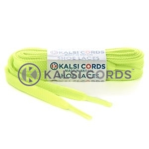 T461 7mm Thin Flat Shoe Laces Tubular Fluorescent Neon Yellow PG053 Kids Toddlers