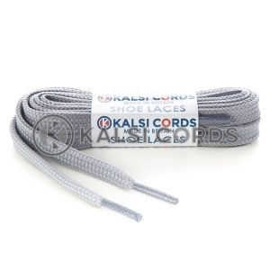 T461 7mm Thin Flat Tubular Shoe Laces Frosted Silver 1 Kalsi Cords
