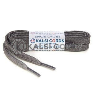 T461 7mm Thin Flat Tubular Shoe Laces Grey 1 Kalsi Cords