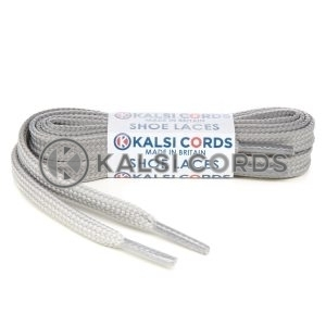 T461 7mm Thin Flat Tubular Shoe Laces Light Grey 1 Kalsi Cords