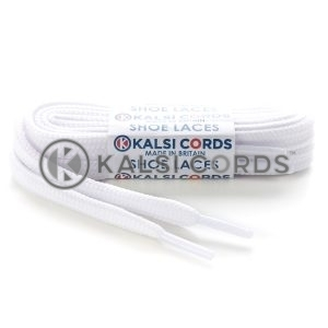 T461 7mm Thin Flat Tubular Shoe Laces Optic White 1 Kalsi Cords