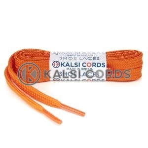 T461 7mm Thin Flat Tubular Shoe Laces Orange 1 Kalsi Cords