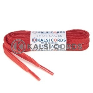 T461 7mm Thin Flat Tubular Shoe Laces Rose Madder Red 1 Kalsi Cords