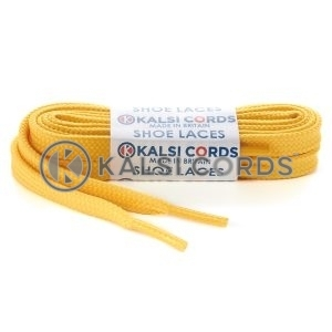 T461 7mm Thin Flat Tubular Shoe Laces Yellow 1 Kalsi Cords
