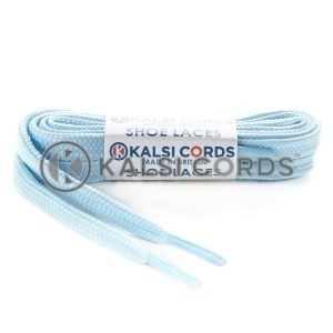 T638 8mm Flat Shoe Laces Tubular Baby Blue PG835 Sports Trainers Boots Footwear