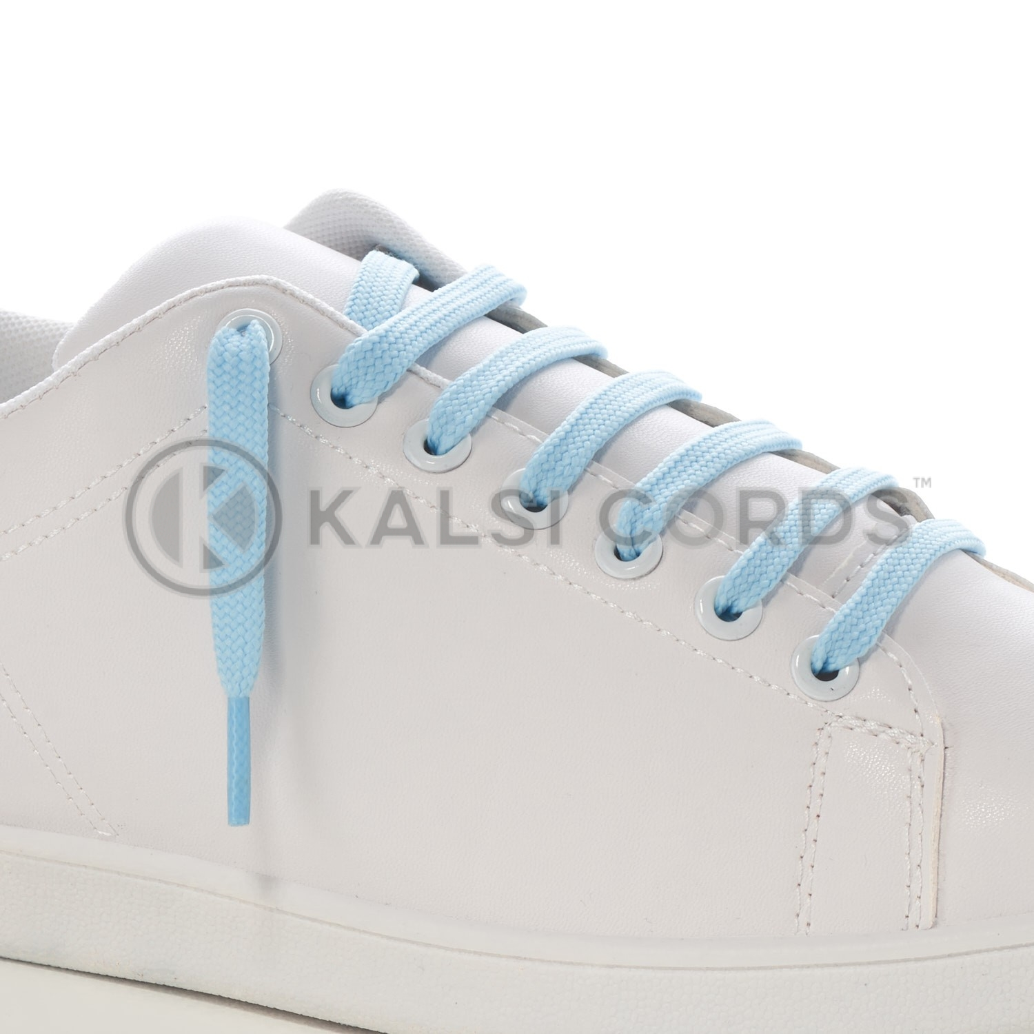 9mm Flat Shoe Laces Tubular Baby Blue PG835 Sports Trainers Boots Footwear Drawstring Drawcord