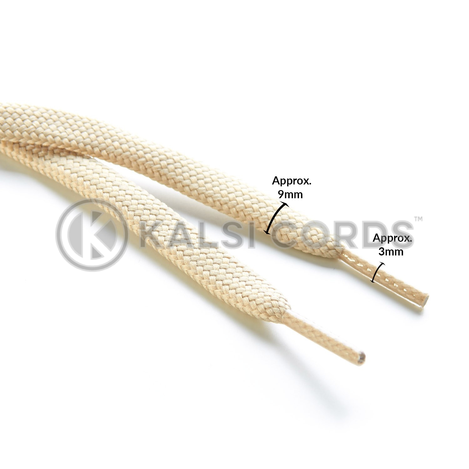 9mm Flat Shoe Laces Tubular Cream PG932 Sports Trainers Boots Footwear Drawstring Drawcord