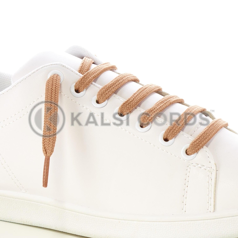 9mm Flat Shoe Laces Tubular Dark Beige PG659 Sports Trainers Boots Footwear Drawstring Drawcord