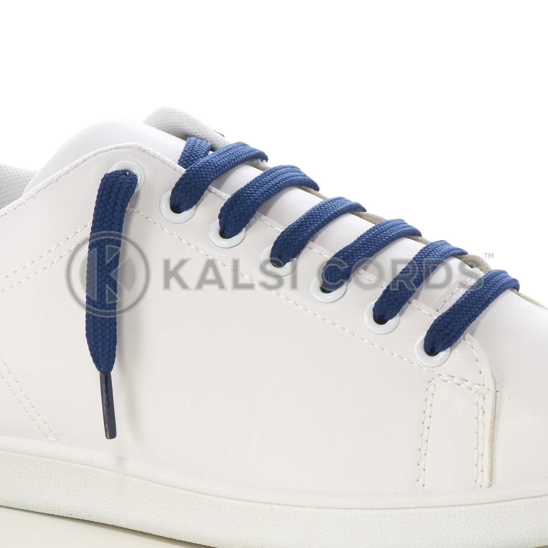 9mm Flat Shoe Laces Tubular Dark Blue PG795 Sports Trainers Boots Footwear Drawstring Drawcord