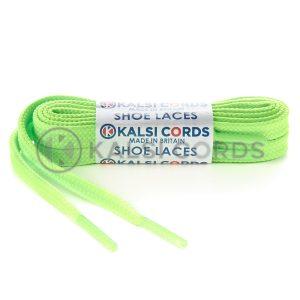 9mm Flat Tubular Fluorescent Lime Shoe Laces 1 Kalsi Cords