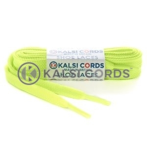 R1176 9mm Flat Shoe Laces Tubular Fluorescent Neon Yellow PG053 Sports Trainers Boots Footwear Hoodies Joggers Drawstring Drawcord Braid