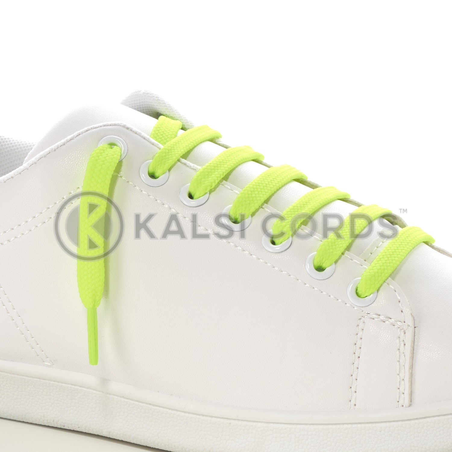 9mm Flat Shoe Laces Tubular Fluorescent Neon Yellow PG053 Sports Trainers Boots Footwear Drawstring Drawcord