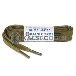 R1176 9mm Flat Shoe Laces Tubular Khaki Olive Green PG811 Sports Trainers Boots Footwear Hoodies Joggers Drawstring Drawcord Braid