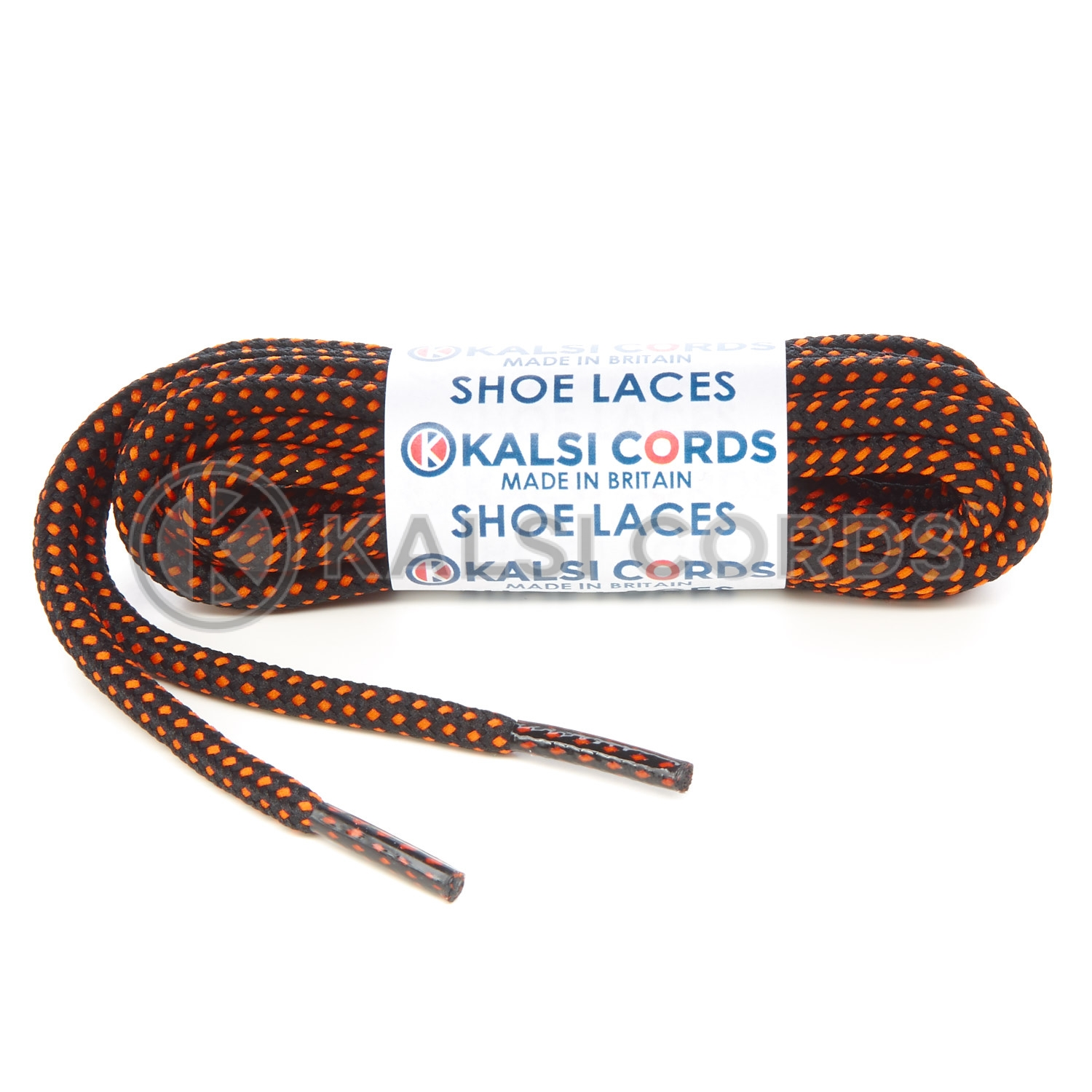 T621 5mm Round Cord Fleck Shoe Laces Black Orange Kids Trainers Adults Hiking Walking Boots Kalsi Cords