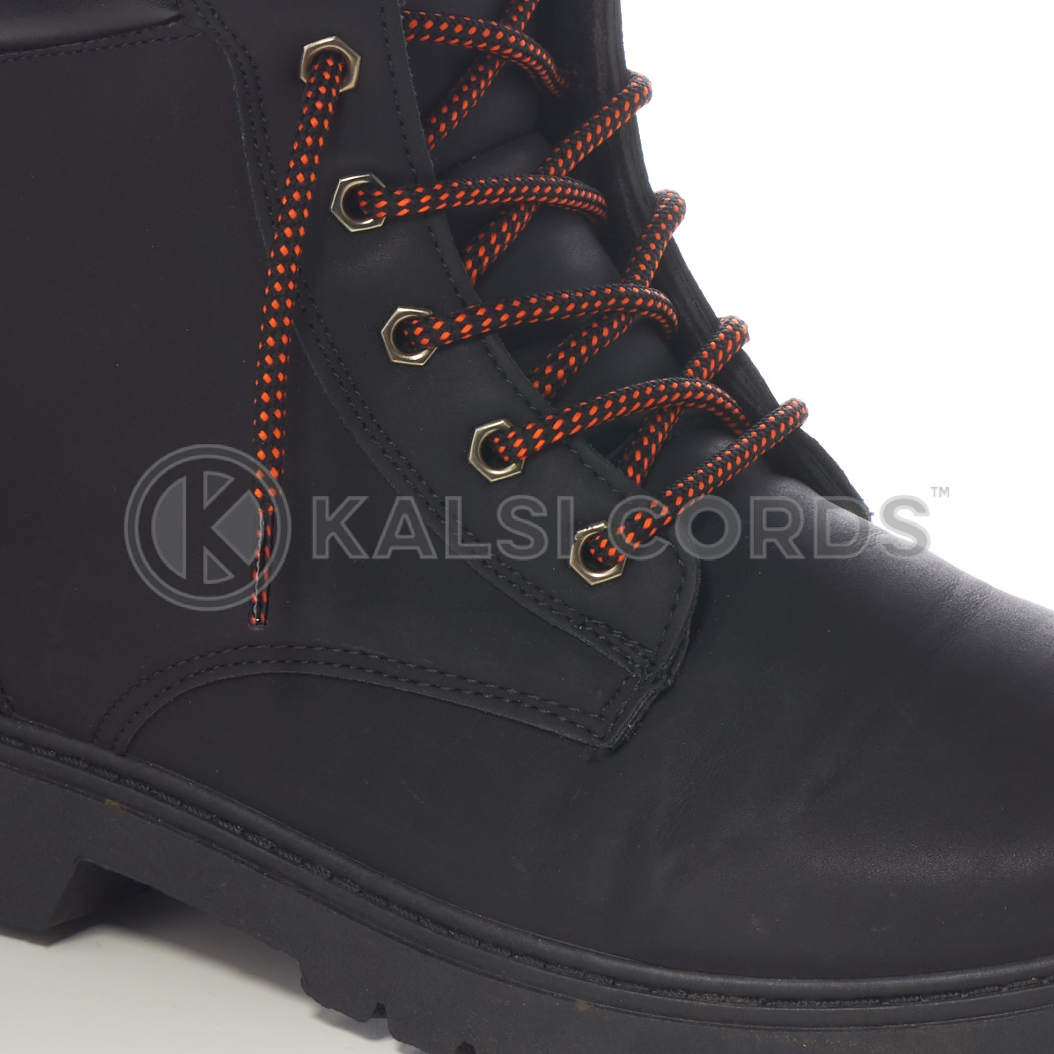 T621 5mm Round Cord Fleck Shoe Lace Black Orange Kids Trainers Adults Hiking Walking Boots Kalsi Cords