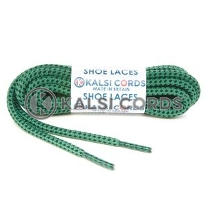 T621 5mm Round Cord Fleck Shoe Laces Emerald Green Black Kids Trainers Adults Hiking Walking Boots Kalsi Cords