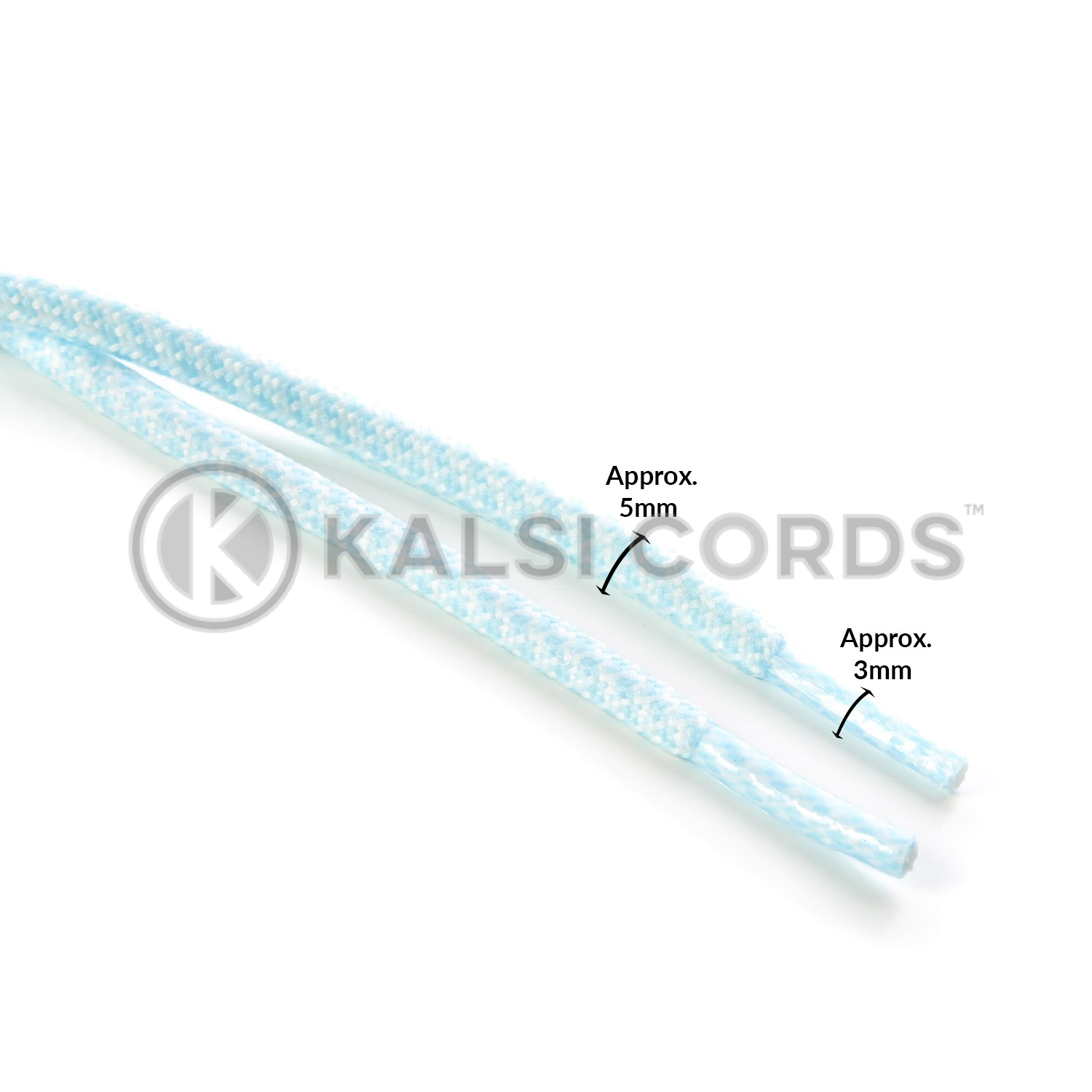 T655 5mm Round Cord Honeycomb Shoe Laces Baby Blue White Kids Trainers Adults Hiking Walking Boots Kalsi Cords