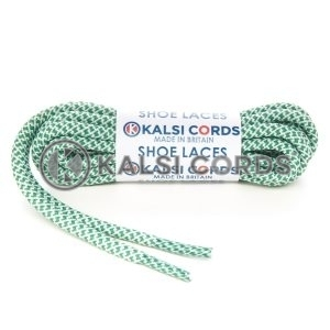 T655 5mm Round Cord Honeycomb Shoe Laces Emerald Green White Kids Trainers Adults Adidas Yeezy Boost Hiking Walking Boots Kalsi Cords