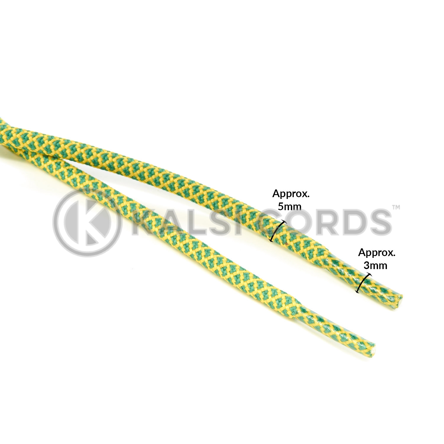 T655 5mm Round Cord Honeycomb Shoe Laces Emerald Green Yellow Kids Trainers Adults Hiking Walking Boots Kalsi Cords