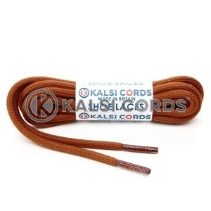 T621 5mm Round Cord Shoe Laces Nutmeg Brown PG935 Kids Trainers Adults Hiking Walking Boots Kalsi Cords