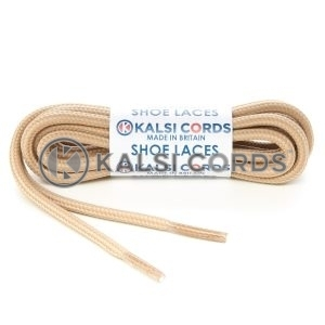 T621 5mm Round Cord Stripe Shoe Laces Cream Dark Beige Kids Trainers Adults Hiking Walking Boots Kalsi Cords