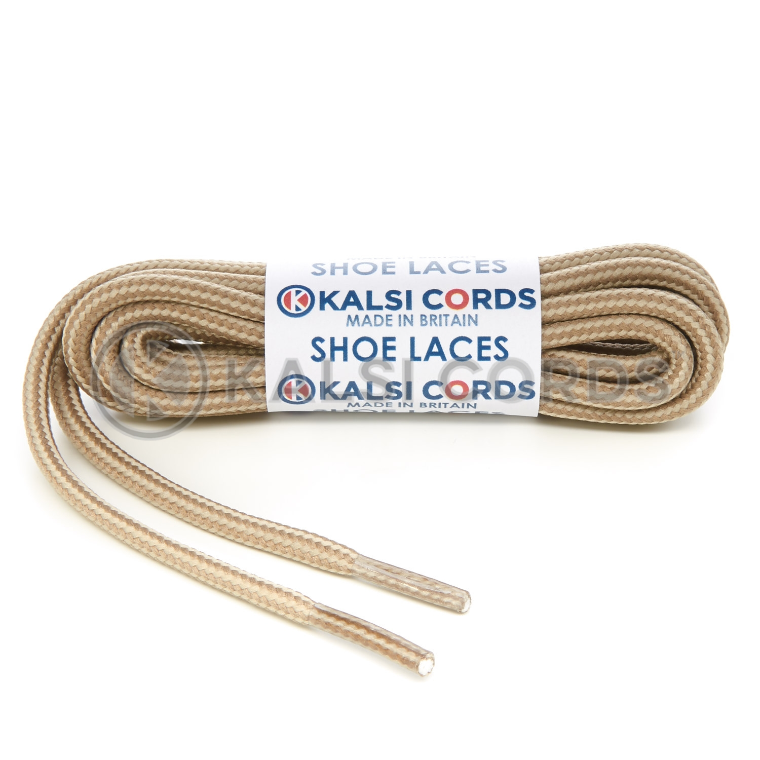 T621 5mm Round Cord Stripe Shoe Laces Cream Light Fawn Kids Trainers Adults Hiking Walking Boots Kalsi Cords