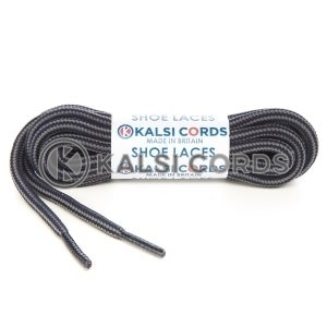 T621 5mm Round Cord Stripe Shoe Laces Dark Navy Grey Kids Trainers Adults Hiking Walking Boots Kalsi Cords