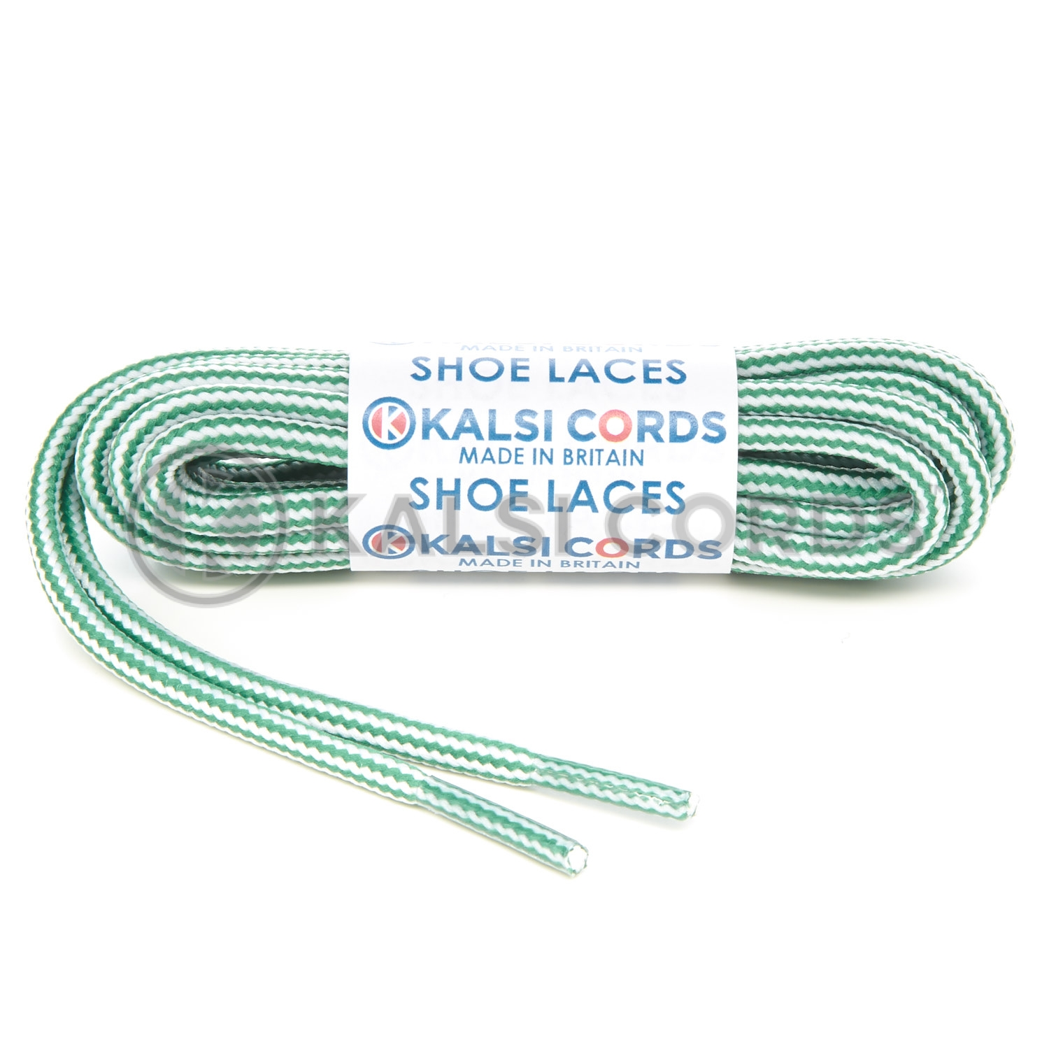 T621 5mm Round Cord Stripe Shoe Laces Emerald Green White Kids Trainers Adults Hiking Walking Boots Kalsi Cords