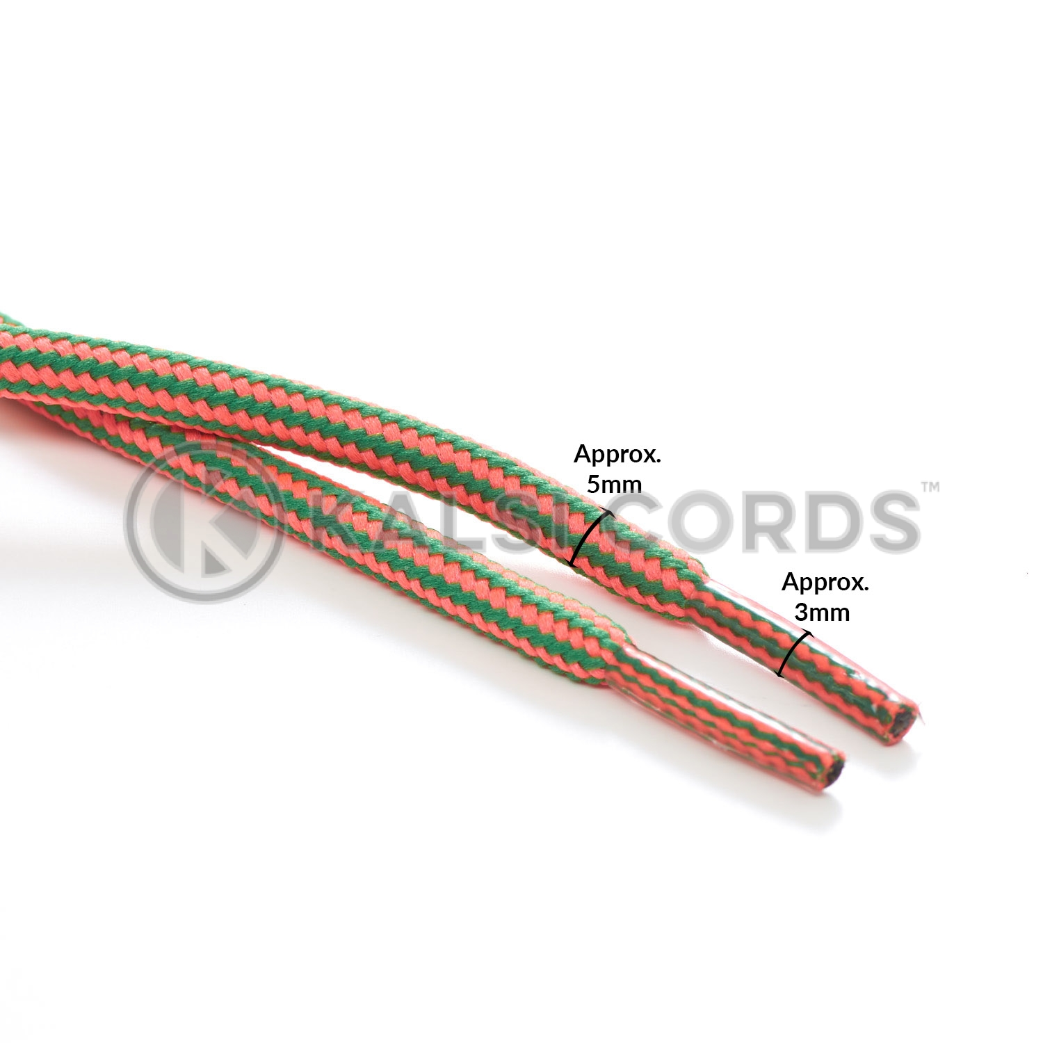 T621 5mm Round Cord Stripe Shoe Laces Fluorescent Pink Emerald Green Kids Trainers Adults Hiking Walking Boots Kalsi Cords