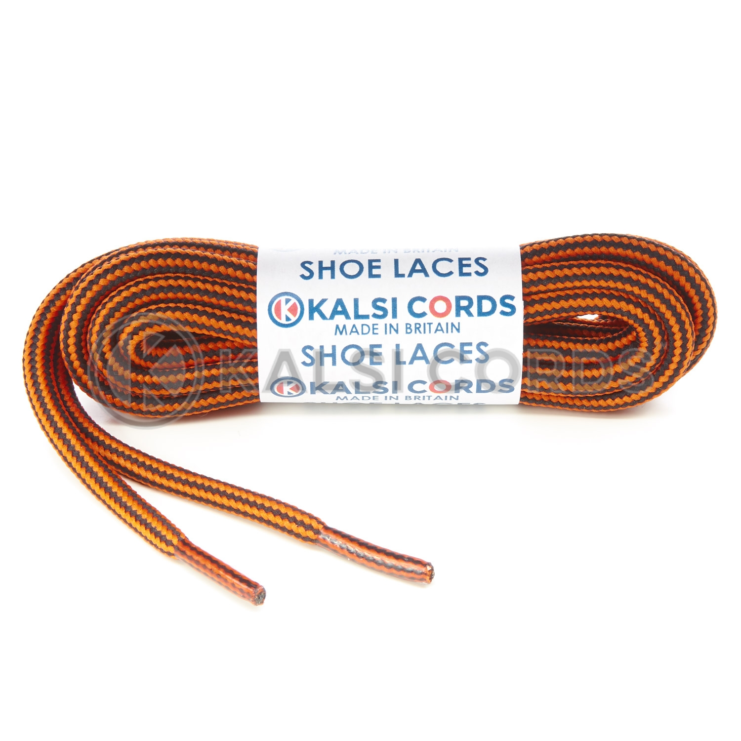 T621 5mm Round Cord Stripe Shoe Laces Orange Black Kids Trainers Adults Hiking Walking Boots Kalsi Cords