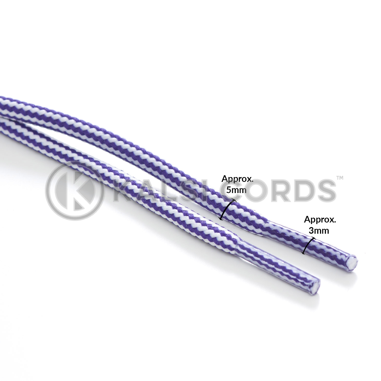 T621 5mm Round Cord Stripe Shoe Laces Purple White Kids Trainers Adults Hiking Walking Boots Kalsi Cords