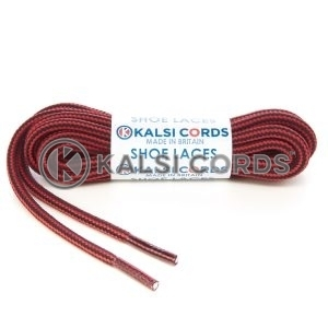 T621 5mm Round Cord Stripe Shoe Laces Rose Madder Red Black Kids Trainers Adults Hiking Walking Boots Kalsi Cords
