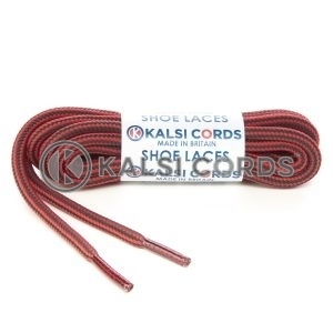 T621 5mm Round Cord Stripe Shoe Laces Rose Madder Red Cedar Green Kids Trainers Adults Hiking Walking Boots Kalsi Cords