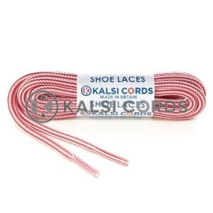 T621 5mm Round Cord Stripe Shoe Laces Rose Madder Red White Kids Trainers Adults Hiking Walking Boots Kalsi Cords