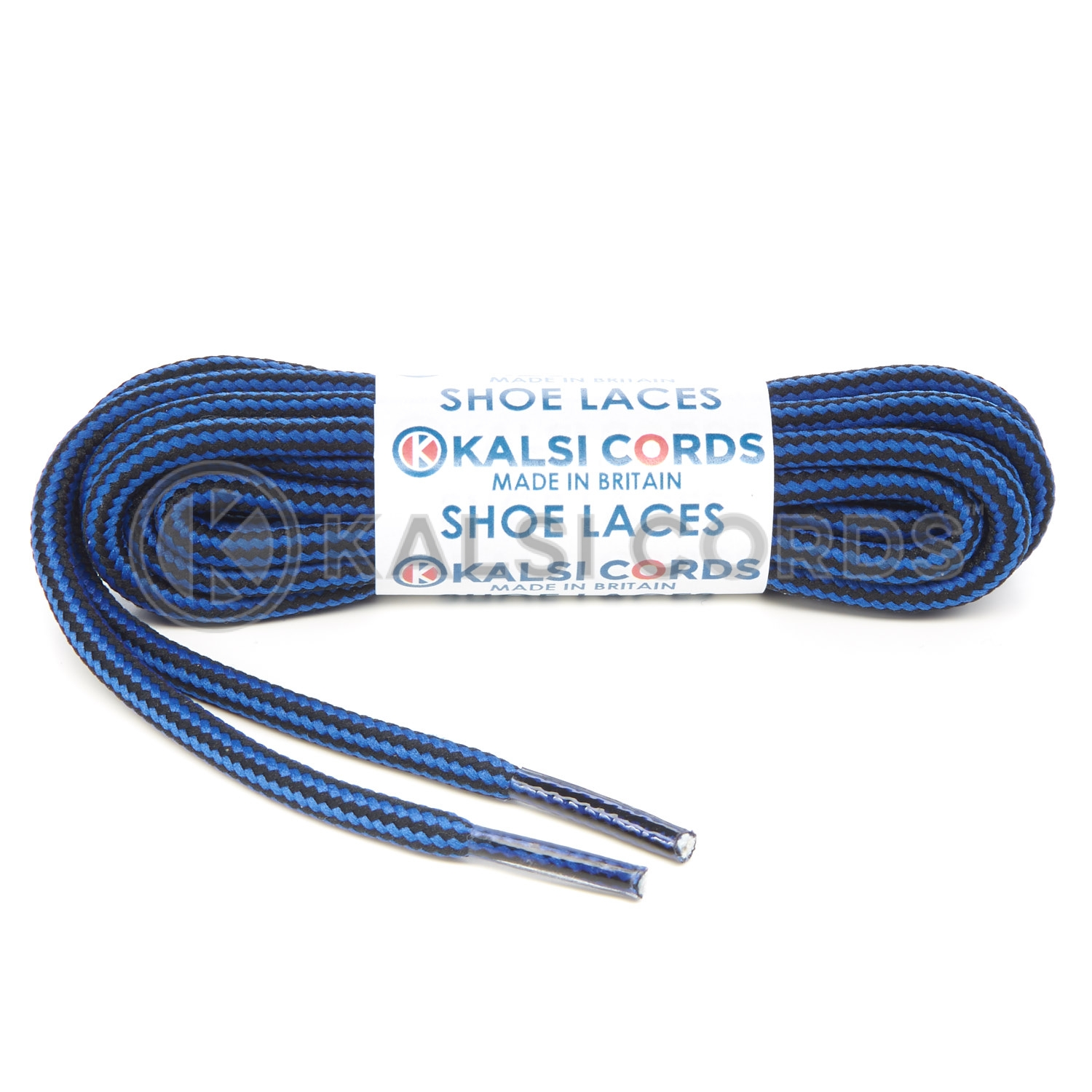 T621 5mm Round Cord Stripe Shoe Laces Royal Blue Black Kids Trainers Adults Hiking Walking Boots Kalsi Cords