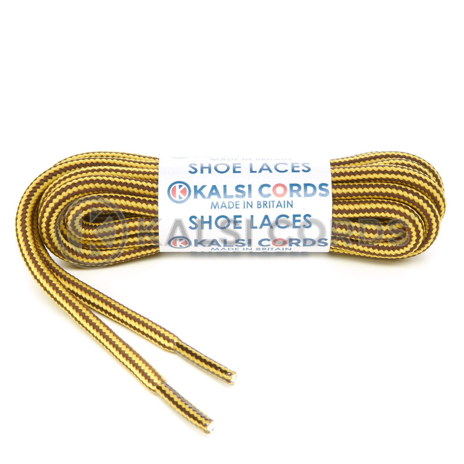 T621 5mm Round Cord Stripe Shoe Laces Yellow York Brown Kids Trainers Adults Hiking Walking Boots Kalsi Cords
