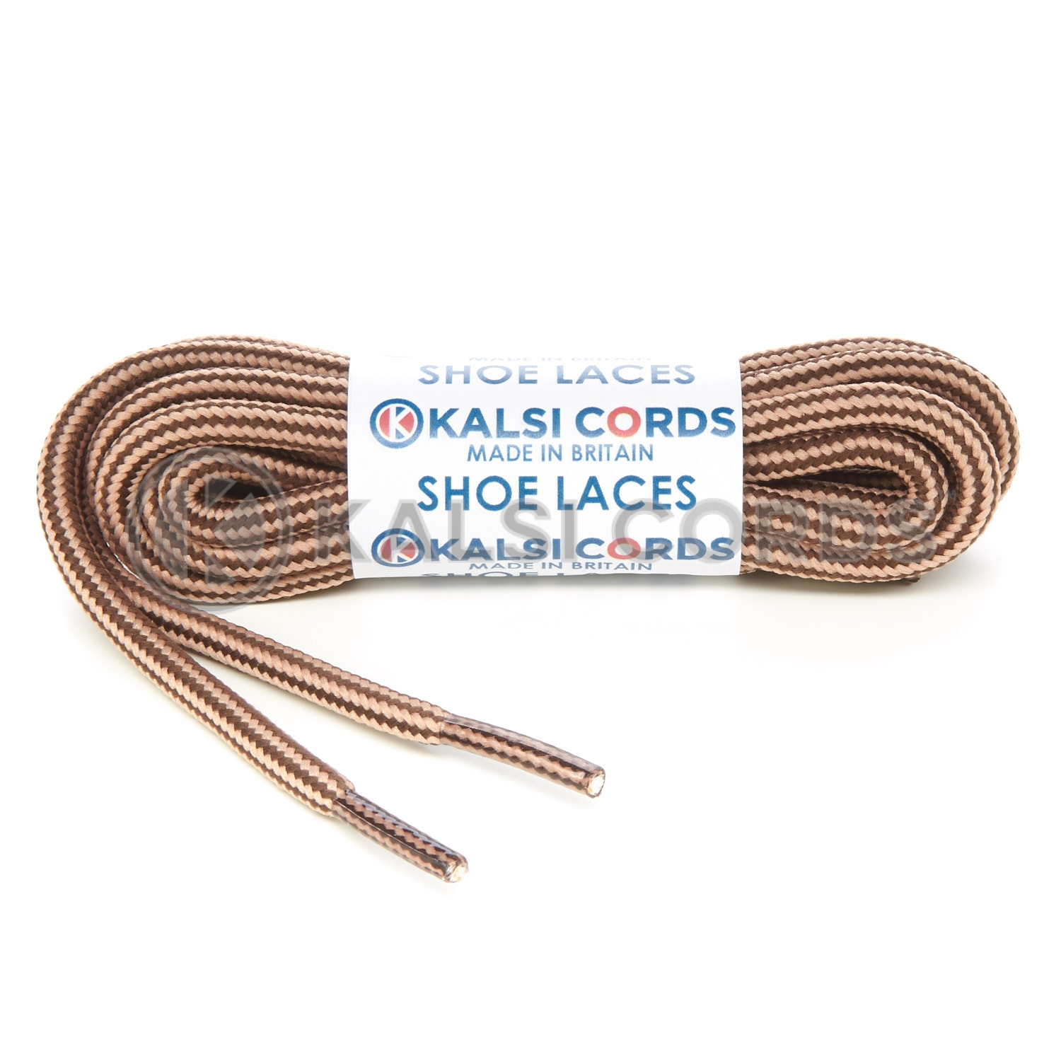 T621 5mm Round Cord Stripe Shoe Laces York Brown Dark Beige Kids Trainers Adults Hiking Walking Boots Kalsi Cords