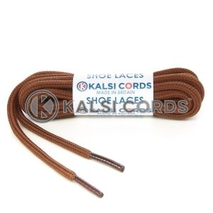 T621 5mm Round Cord Stripe Shoe Laces York Brown Nutmeg Kids Trainers Adults Hiking Walking Boots Kalsi Cords