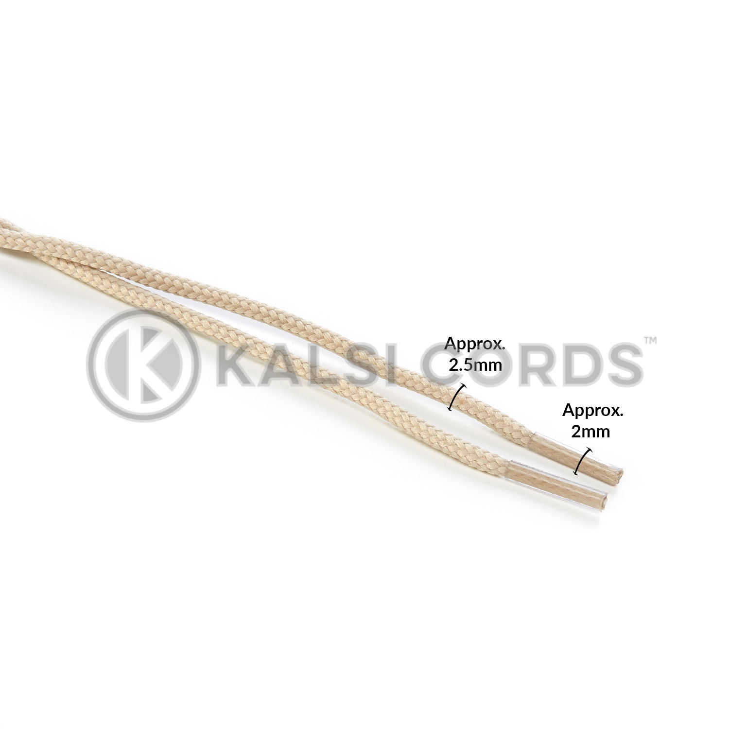 T460 2mm Thin Fine Round Cord Shoe Laces Cream PG932 Kids Trainers Adults Brogue Formal Boots Kalsi Cords