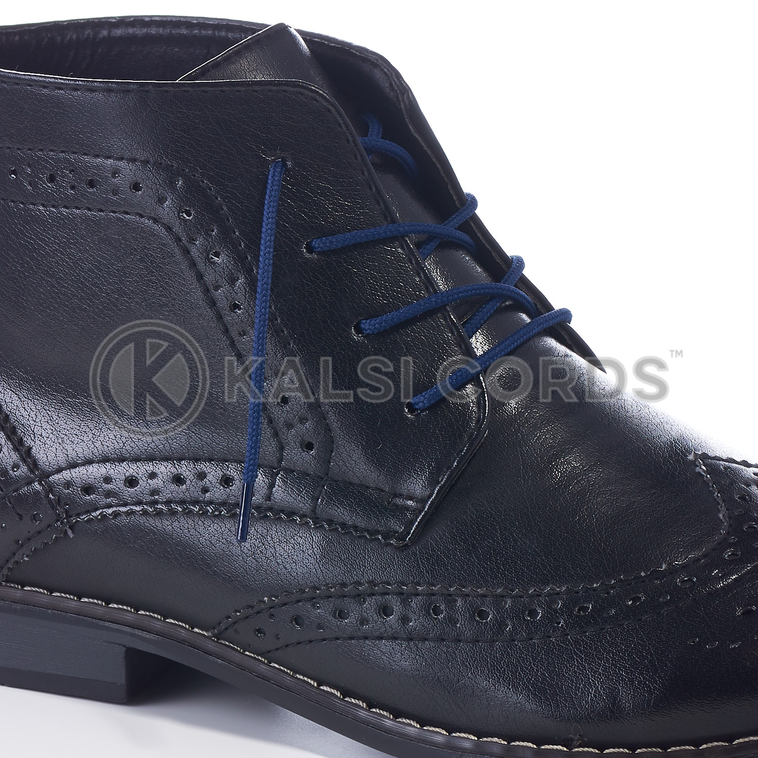 T460 2mm Thin Fine Round Cord Shoe Laces Dark Blue PG795 Kids Trainers Adults Brogue Formal Boots Kalsi Cords
