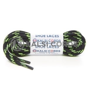 T621 5mm Round Cord 4 Fleck Shoe Laces Black with Flo Lime 1 Kalsi Cords
