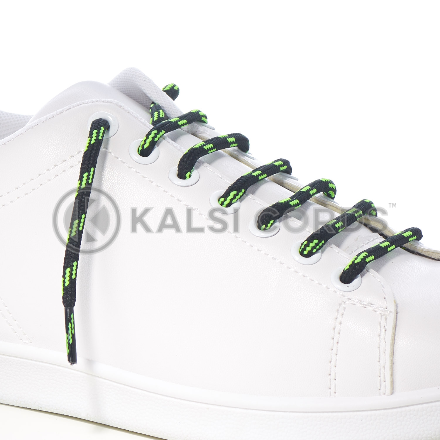 T621 5mm Round Cord Shoe Lace Black Fluorescent Lime Green 4 Fleck Kids Trainers Adults Hiking Walking Boots Kalsi Cords