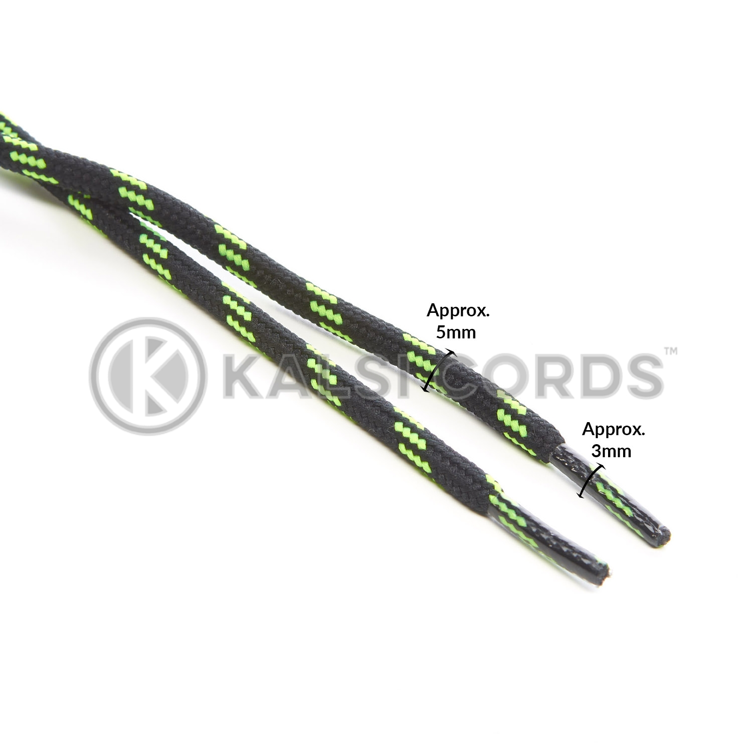 T621 5mm Round Cord Shoe Laces Black Fluorescent Lime Green 4 Fleck Kids Trainers Adults Hiking Walking Boots Kalsi Cords