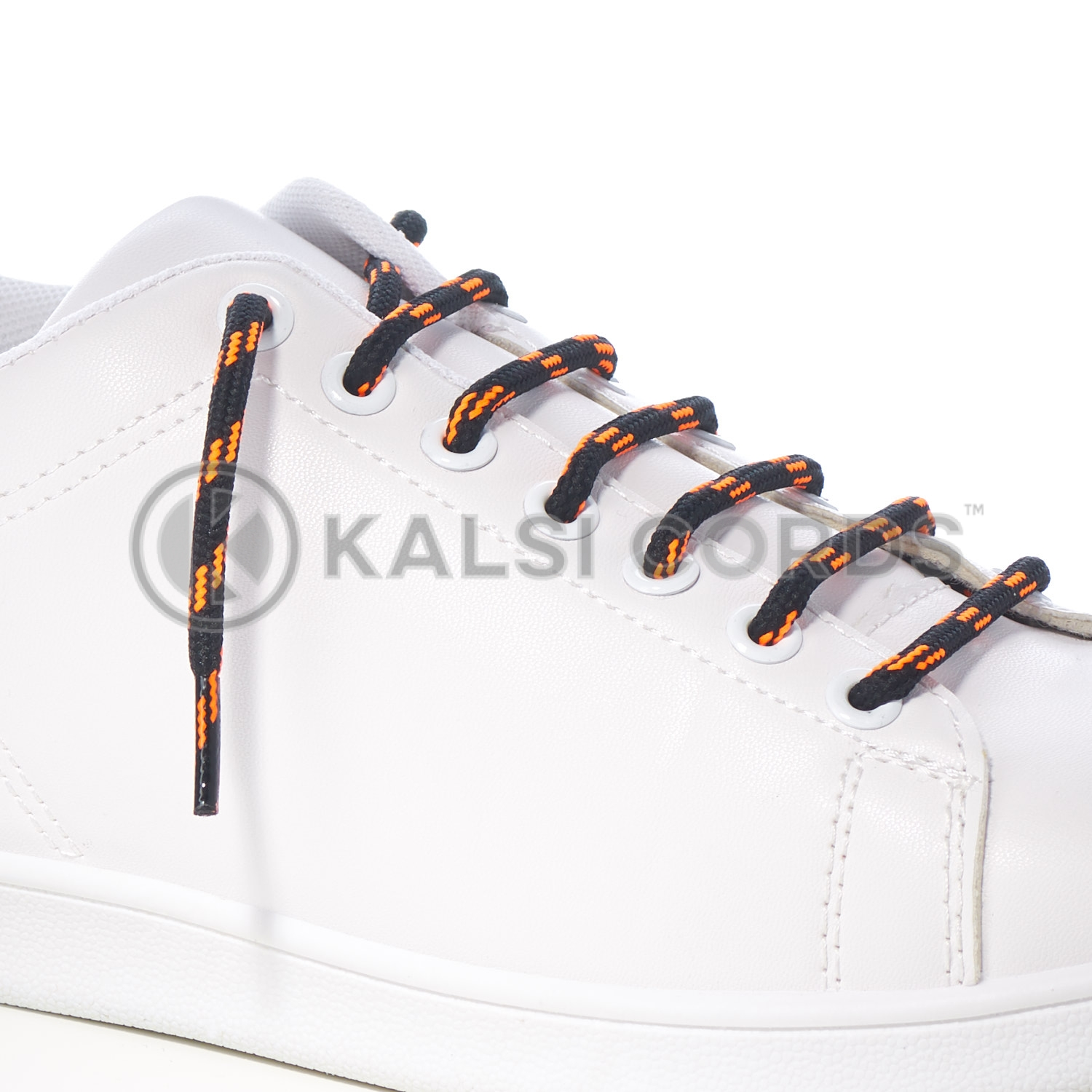 T621 5mm Round Cord Shoe Lace Black Fluorescent Orange 4 Fleck Kids Trainers Adults Hiking Walking Boots Kalsi Cords