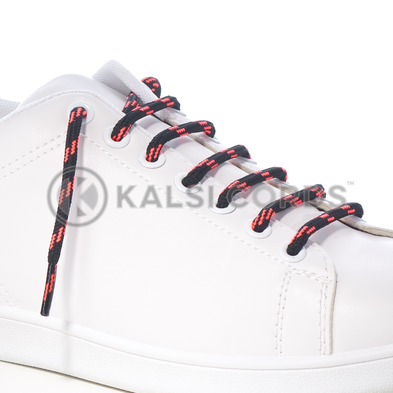 T621 5mm Round Cord Shoe Lace Black Fluorescent Pink 4 Fleck Kids Trainers Adults Hiking Walking Boots Kalsi Cords