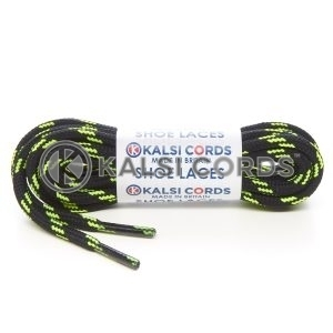 T621 5mm Round Cord 4 Fleck Shoe Laces Black with Flo Yellow 1 Kalsi Cords